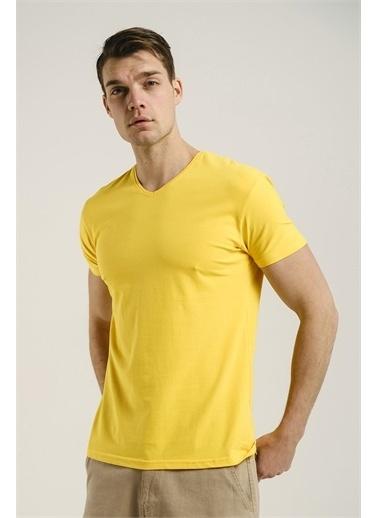Oksit Riley V Yaka Slim Fit Basic Erkek Tshirt  Sarı